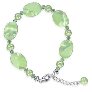 925 Sterling Silver Swarovski Elements Faux Pearl with Crystal Handmade Bracelet 7 to 8.5 inch Adjustable