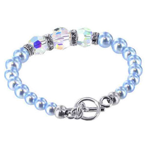 925 Sterling Silver Blue Faux Pearl with Crystal Handmade Bracelet