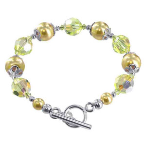 925 Sterling Silver Swarovski Elements 10mm Faux Yellow Pearl with Crystal Handmade Bracelet 7.5 inch