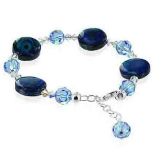 925 Sterling Silver Blue Dyed Abalone with Swarovski Elements Crystal Handmade Bracelet 7 inch