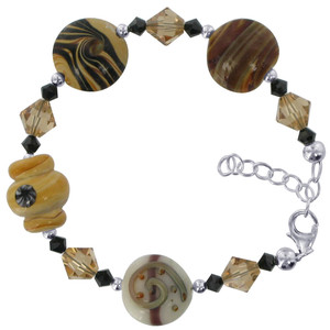925 Sterling Silver Blown Glass with Crystal Handmade Bracelet