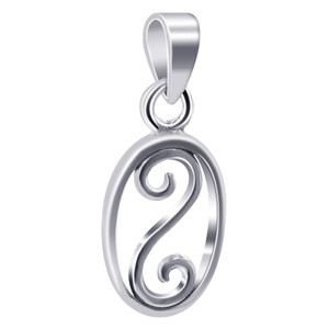 925 Sterling Silver Oval Shape with Swirl Pendant
