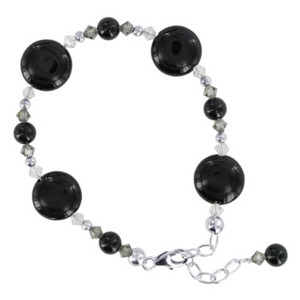 925 Sterling Silver Black Onyx Stone with Swarovski Elements Crystal Handmade Bracelet 6.5 to 8.5 inch Adjustable