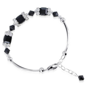 925 Sterling Silver Swarovski Elements Black Crystal Handmade Bracelet 6.5 inch