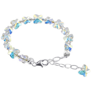 925 Sterling Silver Swarovski Elements Butterfly Clear AB Crystal Handmade Bracelet 5.5 to 7 inch Adjustable