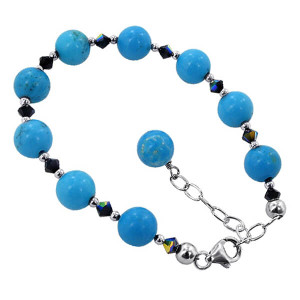925 Sterling Silver Turquoise Beads with Swarovski Elements Crystal Handmade Bracelet 7 to 9 inch Adjustable