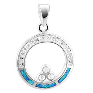 925 Sterling Silver Round Created Blue Opal Inlay with CZ accents Pendant