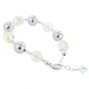 925 Sterling Silver Ball Clear AB Crystal Handmade Bracelet