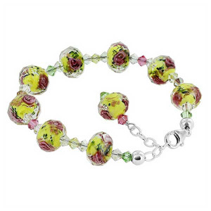 925 Sterling Silver Millefiori Glass and Crystal Handmade Bracelet