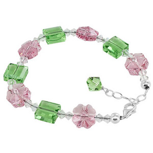 Sterling Silver Multi Flower and Square Crystal Handmade Bracelet