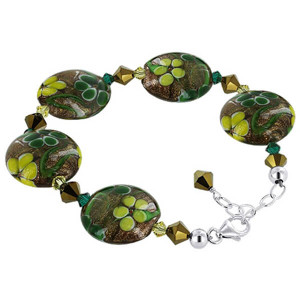 925 Sterling Silver Lampwork Glass with Swarovski Elements Multi Crystal Handmade Bracelet 7.5 to 9 inch Adjustable