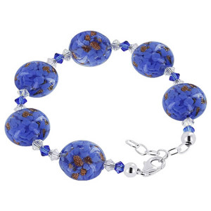 925 Sterling Silver 16mm Lampwork Glass with Swarovski Elements Crystal Handmade Bracelet 7 to 8 inch Adjustable