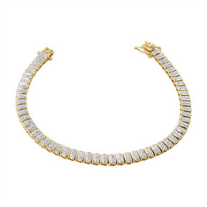 Gold over 925 Sterling Silver Clear Topaz 5mm Wide Vermeil Link Two Toned Bracelet 7.25 inch
