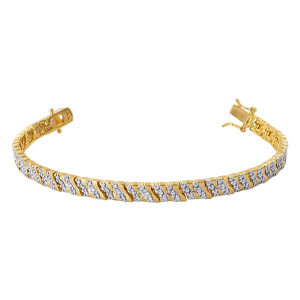 Gold over 925 Sterling Silver Clear Topaz 5mm Paved Two Toned Vermeil Link Bracelet 7.25 inch