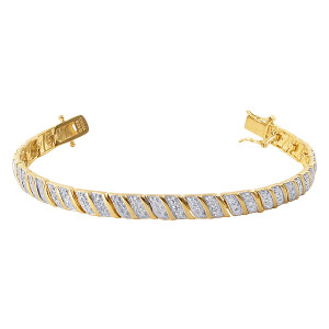 Gold over 925 Sterling Silver Pave set Clear Topaz Gemstone 6mm Vermeil Two Toned Link Bracelet 7 to 8 inch
