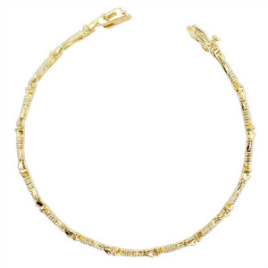 Gold over 925 Sterling Silver 2mm wide Textured 925 Sterling Silver Pave Link Vermeil Bracelet