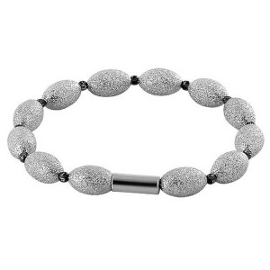 925 Sterling Silver Rhodium Plated 8mm x 12mm Oval Beads and Magnetic Clasp Bracelet