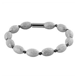 925 Silver Rhodium Plated Oval Beads Magnetic Clasp Bracelet
