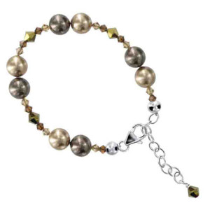 925 Sterling Silver Swarovski Elements Dark Grey & Bronze Faux Pearl with Crystal Handmade Bracelet 7 to 8 inch Adjustable