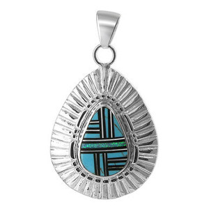 925 Silver Turquoise and Created Opal Inlay Pendant