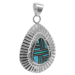 Sterling Silver Turquoise and Created Opal Inlay Pendant