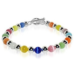 925 Silver Multicolor Cats Eye Beads Toggle Clasp Bracelet