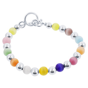 925 Sterling Silver Round Multicolor 6mm Cats Eye Beads 6.5, 7, 7.5, 8 Inch Bracelet With Toggle Clasp