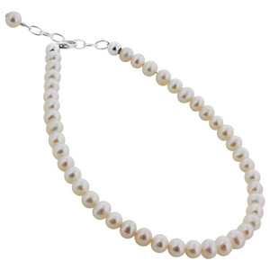 925 Sterling Silver 6mm wide White Potato imitation Pearls Beads Handmade Bracelet Made with Swarovski Elements