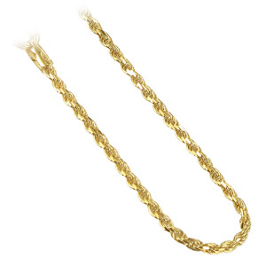 14k Gold Over Sterling Silver Rope Chain Bracelet
