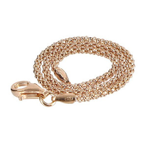 14k Rose Gold Over Sterling Silver Popcorn Chain Bracelet