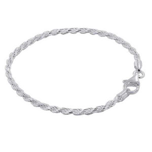 925 Sterling Silver 2.5mm wide Faceted Cut Rope Chain 7, 8, 9 Inch Bracelet