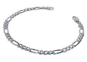 925 Sterling Silver Figaro Link Unisex Bracelet With Lobster Clasp