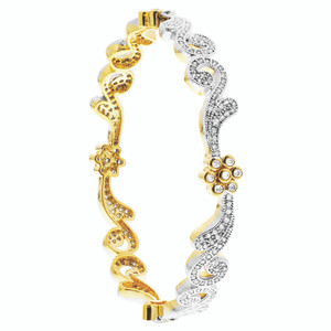 Bollywood Indian Gold Plated CZ Swirl Design Bangle Bracelet