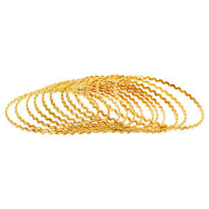 Gold Plated Zig Zag Design Thin Bollywood Indian Bangle Bracelets Set of 12