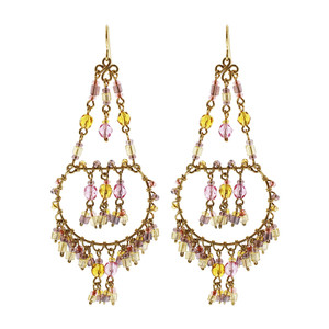 Handmade Chandelier Czech Seed Citrine and Pink Color Beads French Wire Hook Earrings