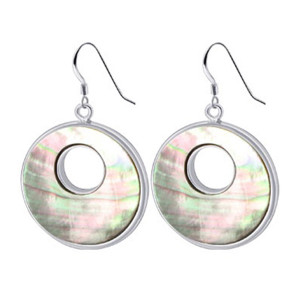 Stainless Steel Mother of Pearl 1 inch Donut French Hook Drop Earrings