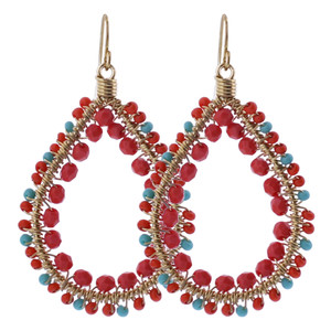 Orange and Turquoise Seed Beads Drop Earrings