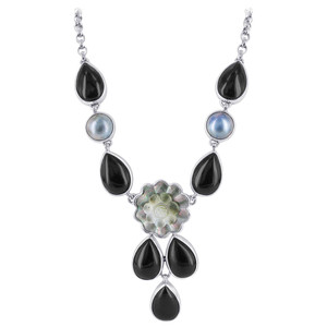 925 Sterling Silver Teardrop Black Onyx and Round Topaz Flower Necklace 18 inch