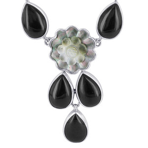 Silver Black Onyx and Round Topaz Flower Necklace 18""
