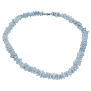Blue Chips 10mm wide Necklace 18 inch