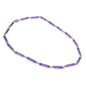 925 Sterling Silver Purple Gemstone 16 inch Necklace