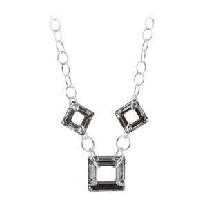 925 Sterling Silver Vitrail Silver Color Square Crystal Necklace 16 inch Made with Swarovski Elements