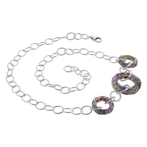 Sterling Silver Faceted Round Swarovski Crystal Necklace
