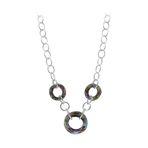 925 Sterling Silver Light Vitrail Faceted Round Crystal Necklace 16 inch Made with Swarovski Elements