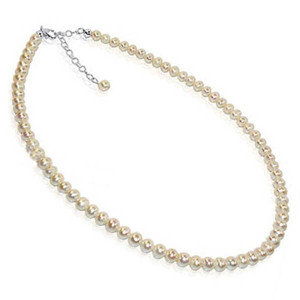 925 Sterling Silver White Freshwater Pearl Single Strand Necklace
