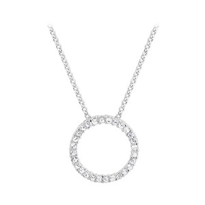 925 Sterling Silver 2mm Round Clear CZ 22mm Eternity Pendant with 1mm Rolo Chain Necklace