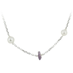 925 Silver Freshwater Pearls with Simulated Chips Necklace