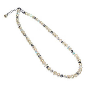 925 Sterling Silver Simulated Pearl Necklace with Swarovski Elements Crystal