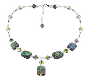 Dyed Abalone Swarovski Crystal Necklace