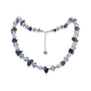 925 Sterling Silver Nugget Pearl Necklace with Swarovski Elements Crystal